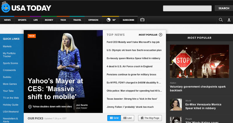 USA Today website redesign