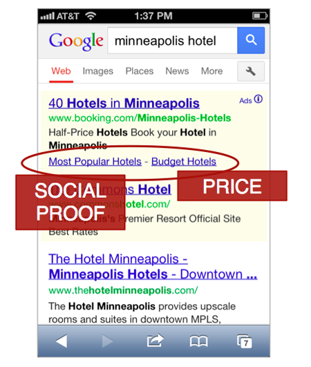 mobile sitelinks example hotel