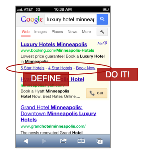 mobile adwords sitelinks luxury hotel