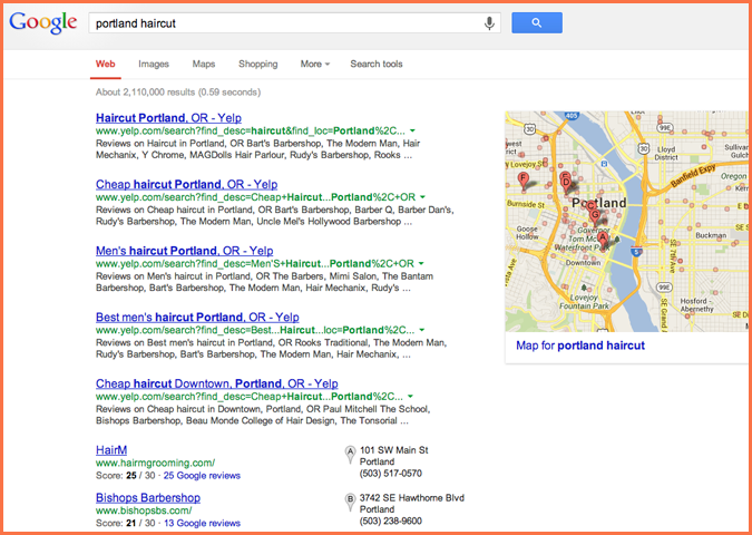 yelp dominance in Google search