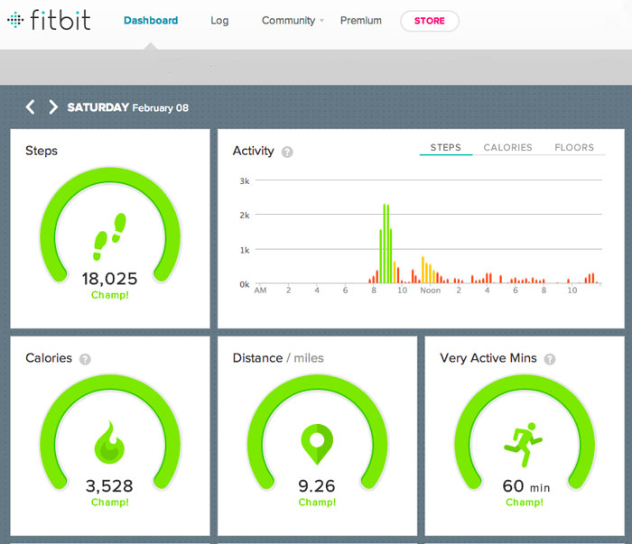 fitbit web dashboard