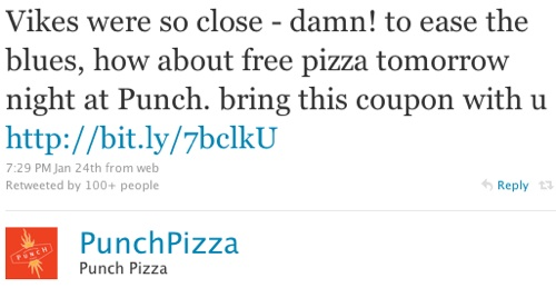 punch pizza social media tweet
